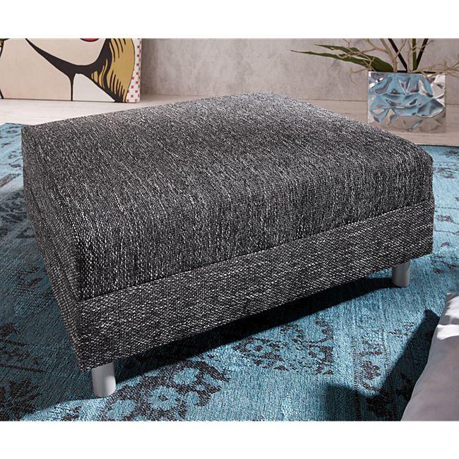 Sofa-Hocker Clovis Schwarz Modul B98 x T83 Strukturstoff Sitzhocker - Bild 1