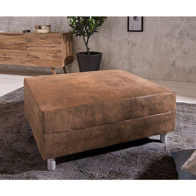 Sofa-Hocker Clovis Braun Modul B98 x T83 Antik Optik Sitzhocker - Bild 1