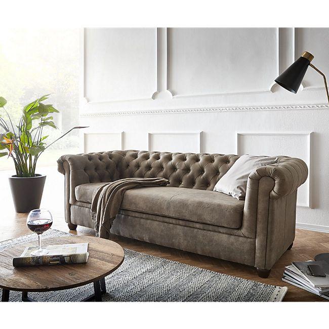 Couch Chesterfield 3-Sitzer Vintage Taupe Abgesteppt - Bild 1