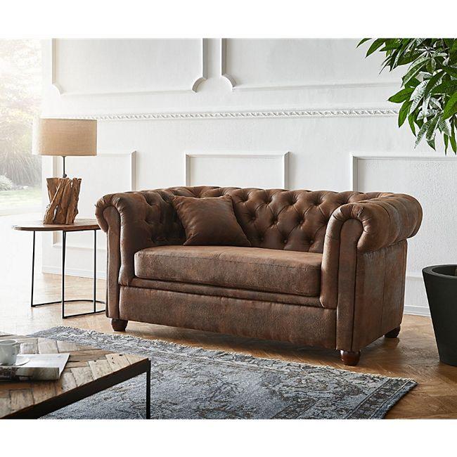 Couch Chesterfield 2-Sitzer Vintage Braun Abgesteppt - Bild 1