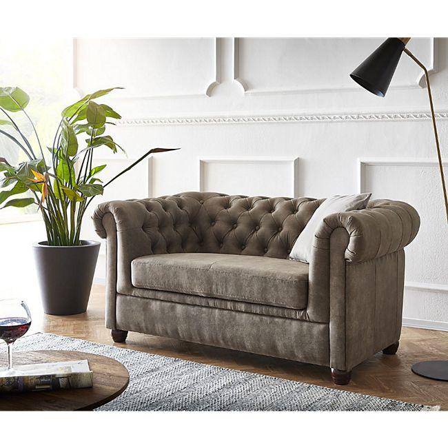 Couch Chesterfield 2-Sitzer Vintage Taupe Abgesteppt - Bild 1