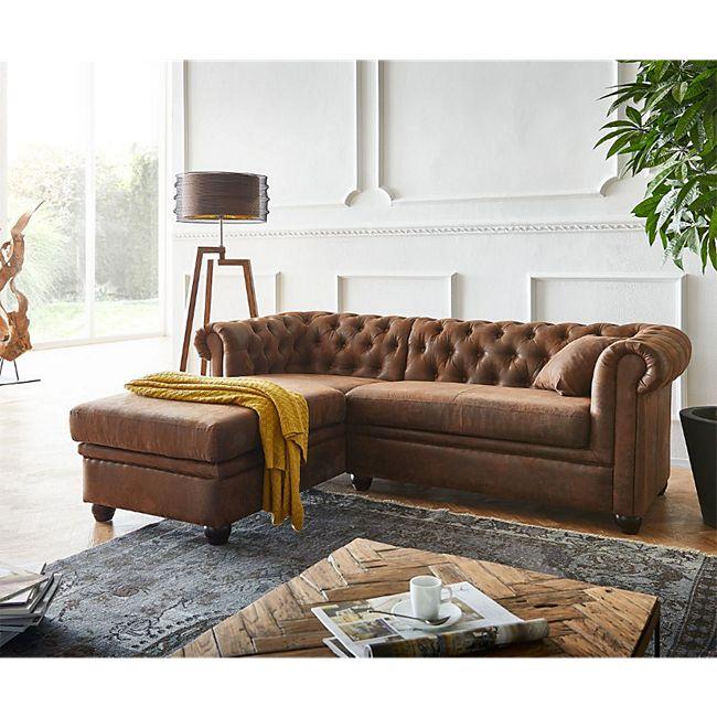 Couch Chesterfield 200 cm Braun Abgesteppt Ottomane Links - Bild 1