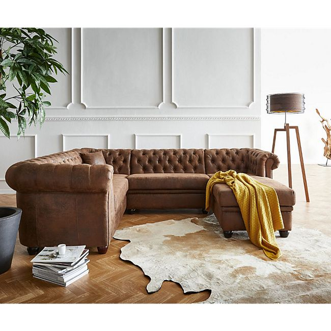 Couch Chesterfield 266 cm Braun Abgesteppt Ottomane Rechts - Bild 1