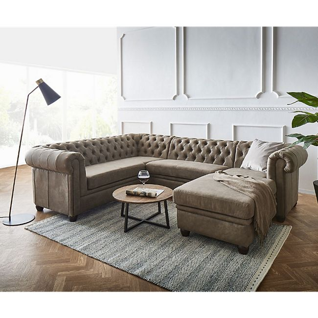 Couch Chesterfield 266 cm Taupe Abgesteppt Ottomane Rechts - Bild 1