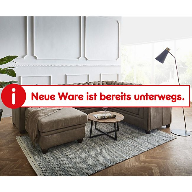 Couch Chesterfield 266 cm Taupe Abgesteppt Ottomane Links - Bild 1