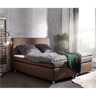 Bett Paradizo Braun 180x200 cm Kingsize Matratze Topper Federkern Flachgewebe - Bild 1