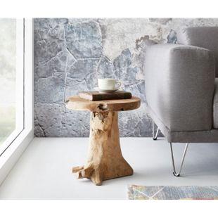 Hocker Ogan Teak Natur 40x35 cm Massivholz Sitzhocker - Bild 1