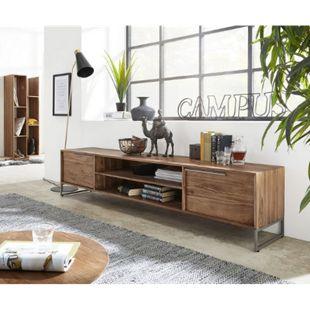TV-Board Odon Natur 200x40x45 cm Teak Lowboard - Bild 1
