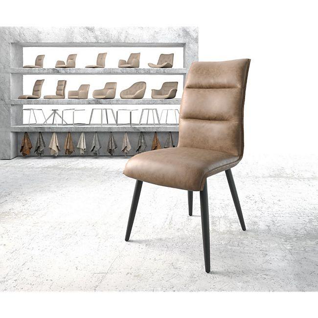 Stuhl Xantus-Flex 4-Fuß konisch Schwarz Vintage Braun Kunstleder - Bild 1