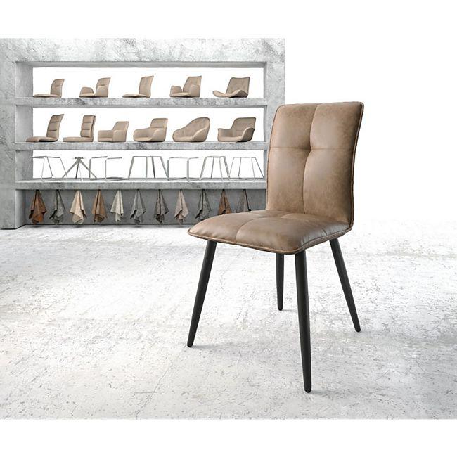 Stuhl Maddy-Flex 4-Fuß konisch Schwarz Vintage Braun Kunstleder - Bild 1