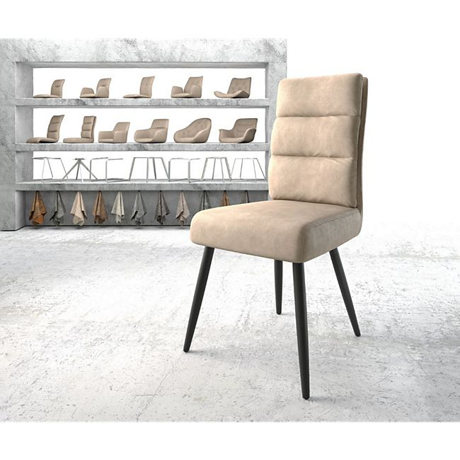 Stuhl Pela-Flex 4-Fuß konisch Schwarz Vintage Beige - Bild 1