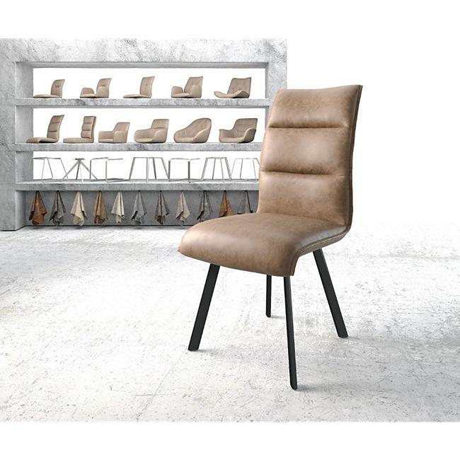 Stuhl Xantus-Flex 4-Fuß oval Schwarz Vintage Braun Kunstleder - Bild 1