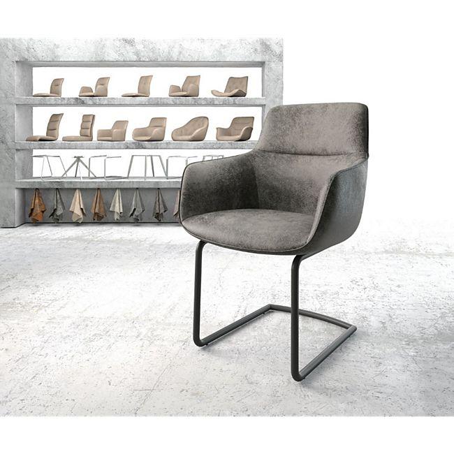 Stuhl Pejo-Flex Freischwinger rund schwarz Vintage Grau - Bild 1