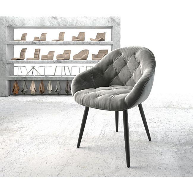Armlehnstuhl Gaio-Flex 4-Fuß konisch Schwarz Samt Grau - Bild 1