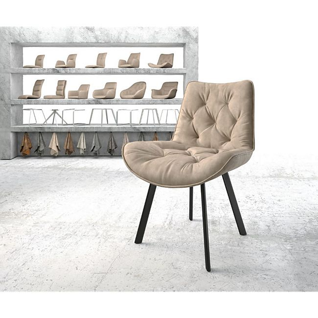 Stuhl Taimi-Flex 4-Fuß oval Schwarz Vintage Beige - Bild 1