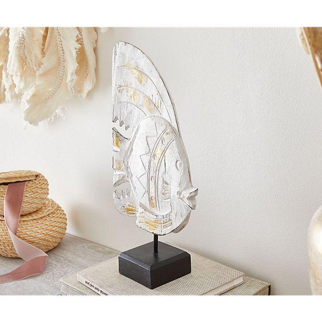 Dekofigur Fisch Weiß 20x40cm aus Albasia Holz - Bild 1