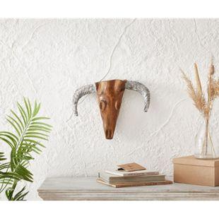 Dekogeweih Stierkopf Teak Natur 45x34 cm Massivholz Horn Silber - Bild 1