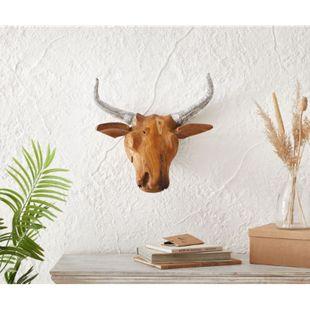 Dekogeweih Ziegenkopf Teak Natur 48x46cm Massivholz Horn Silber - Bild 1