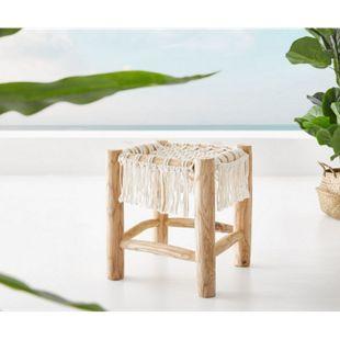 Hocker Melania Teak Natur 40x40 cm mit Makramee Sitzhocker - Bild 1