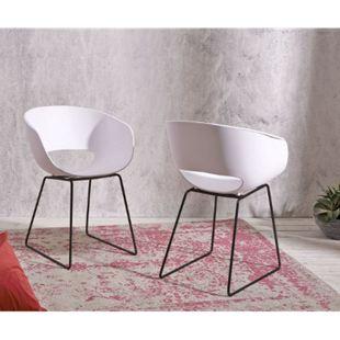 2er-Set-Stuhl Lasca Kunststoff Weiß Schwarzes Metall Gestell - Bild 1