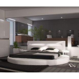 Polsterbett Arrondi Weiss 180x200 Bett rund mit 2 Nachtkonsolen und LED - Bild 1