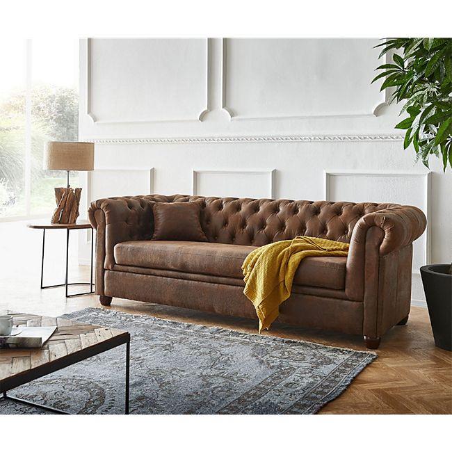 Couch Chesterfield Braun 200x88 cm Vintage Optik abgesteppt 3-Sitzer - Bild 1