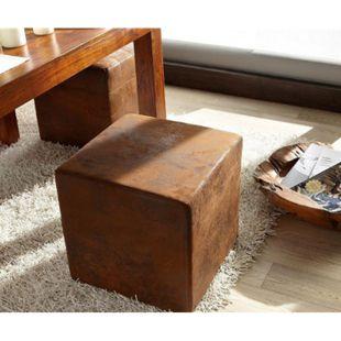 Sitzhocker Dado Braun 45x45 cm Vintage Optik Hocker Sitzwürfel - Bild 1