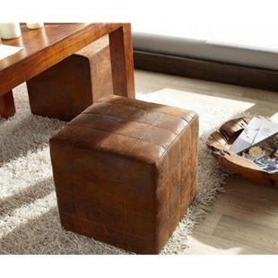Sitzhocker Dado Braun 45x45 cm Sitzwürfel Hocker Vintage Optik abgesteppt - Bild 1