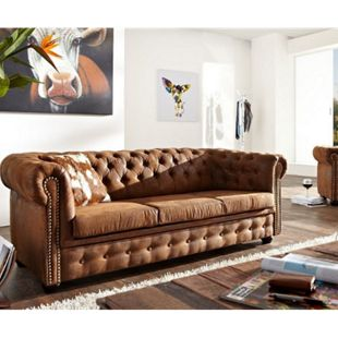 3-Sitzer Chesterfield Braun 200x92 cm Vintage Optik Sofa - Bild 1