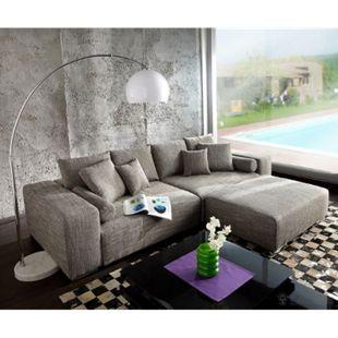 Couch Marbeya Hellgrau 290x110 cm mit Schlaffunktion Hocker - Bild 1