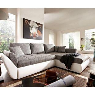 Couch Loana Weiss Grau 275x185 cm Schlaffunktion Ottomane variabel - Bild 1