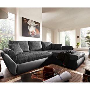 Couch Loana Schwarz 275x185 Schlaffunktion Ottomane variabel Ecksofa - Bild 1