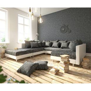 Couch Clovis Weiss Schwarz mit Hocker Wohnlandschaft Modulsofa - Bild 1
