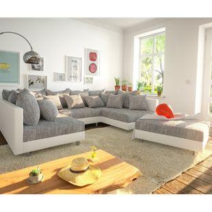 Couch Clovis Weiss Hellgrau mit Hocker Wohnlandschaft - Bild 1