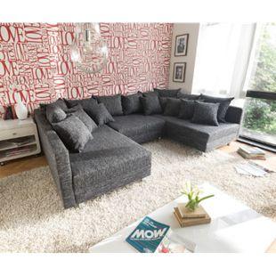 Couch Clovis Schwarz Strukturstoff mit Hocker Wohnlandschaft modular - Bild 1