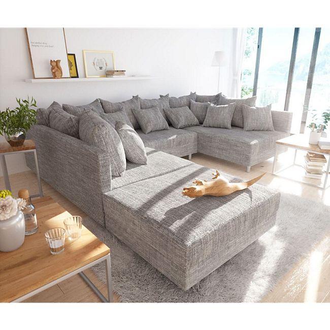 Couch Clovis Hellgrau Strukturstoff mit Hocker Wohnlandschaft Modulsofa - Bild 1