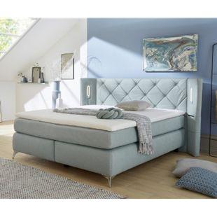 Polsterbett Vinca Hellblau 180x200 mit Matratze und Topper - Bild 1