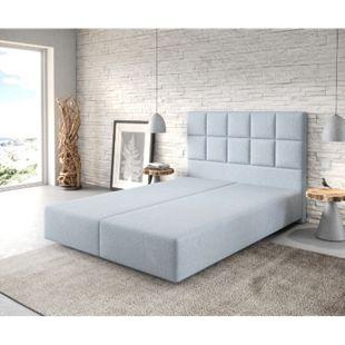 Boxspringgestell Dream-Fine Flachgewebe Pastellblau 140x200 - Bild 1