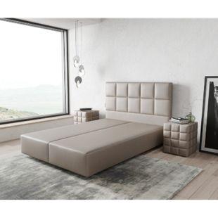 Boxspringgestell Dream-Fine Kunstleder Taupe 140x200 - Bild 1
