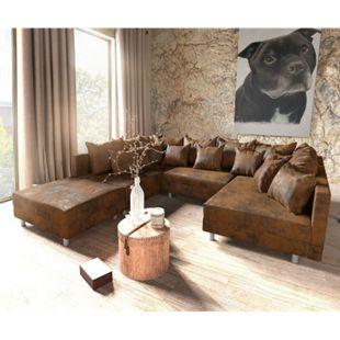 Couch Clovis Braun Vintage Optik mit Hocker Wohnlandschaft Modulsofa - Bild 1