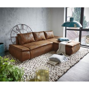 Couch Abilene Braun 260x175 mit Bettfunktion Ottomane variabel Ecksofa - Bild 1