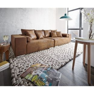 XXL-Couch Marbeya Braun 285x115 cm Antik Optik mit Kissen Bigsofa - Bild 1