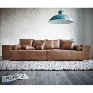 XXL-Couch Marbeya Braun 285x115 cm Antik Optik Hocker und Kissen - Bild 1