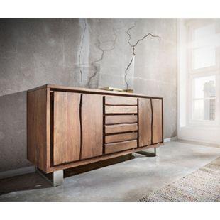 Kommode Live-Edge Akazie Braun 147 cm 2 Türen 3 Schübe Baumkante Sideboard - Bild 1