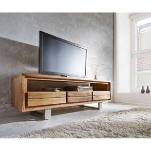 Fernsehtisch Live-Edge Akazie Natur 146 cm 1 Fach 3 Schübe Baumkante Lowboard - Bild 1