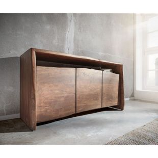 Kommode Live-Edge Akazie Braun 145 cm 3 Türen 1 Fach Baumkante Sideboard - Bild 1