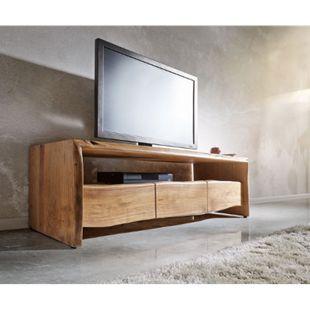 Fernsehtisch Live-Edge Akazie Natur 145 cm Ablagefach offen Baumkante Lowboard - Bild 1