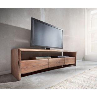 Fernsehtisch Live-Edge Akazie Braun 145 cm Ablagefach offen Baumkante Lowboard - Bild 1