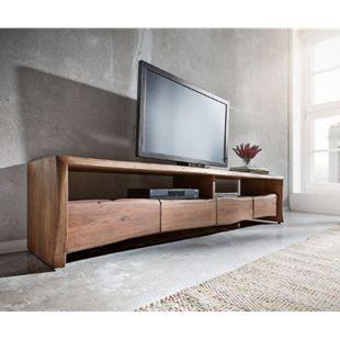 Fernsehtisch Live-Edge Akazie Braun 190 cm 4 Schubkästen Baumkante Lowboard - Bild 1