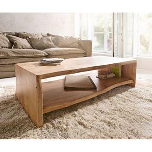 Wohnzimmertisch Live-Edge Akazie Natur 130x60 cm Baumkante Baumtisch - Bild 1
